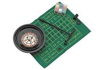 Plastic Roulette Set with Playing Mat, Cards/Chips, & Rake