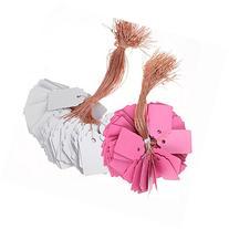 KINGLAKE® 200PCS 5x7cm Plastic Waterproof Pink+Gray Hanging