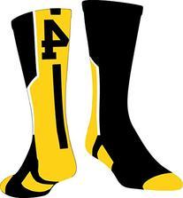 TCK Player Id Number Crew Sock  - Black/Gold/White