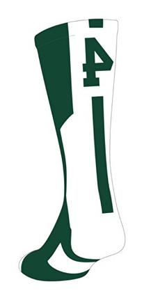 TCK Player Id Dark Green/White Number Crew Sock