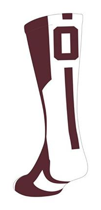TCK Player Id Maroon/White Number Crew Sock