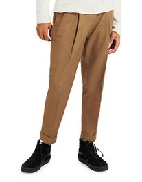 Topman Pleat Tapered Trousers-LIGHT BROWN-32