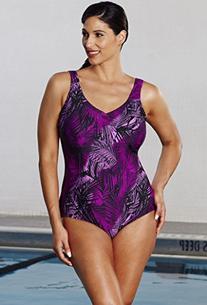 18093e14458 Aquabelle Women s Plus Size Chlorine Resistant V-Neck
