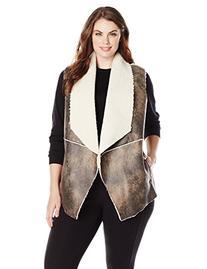BB Dakota Women's Plus-Size Clive Sherpa Vest, Dark Taupe,