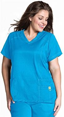 Plus by WonderWink Women's Curved V-Neck Solid Scrub Top XX-