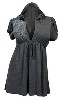 eVogues Plus size Gray Deep cut v-neck Hoodie top - 1X