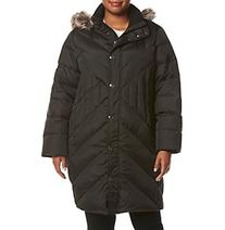 London Fog® Plus Size Diagonal Seaming Coat With Faux