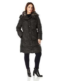 London Fog Women's Plus-Size Mid Length Down Coat, Black, 3X
