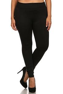 Womens Plus Size Seamless Solid Color Winter Fleece Leggings