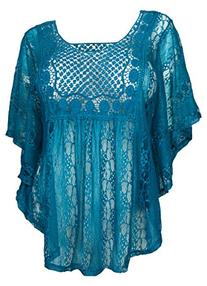 eVogues Plus Size Sheer Crochet Lace Poncho Top Teal - 1X