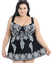 Women's Plus Size Swimdress Printed Swimsuit Beachwear with