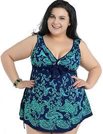 Women's Plus Swimdress V-Neck Printed Swimsuit Beachwear