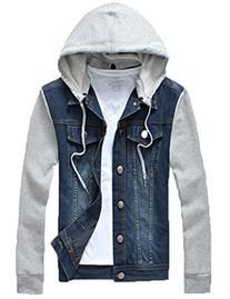QZUnique Men's Plus Big and Tall Denim Jacket Detachable