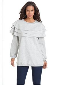 Roamans Women's Plus Size Tiered Ruffle Sweatshirt Heather