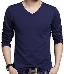 QZUnique Men's Plus Fashion V-Neck Long Sleeve T-shirt Navy
