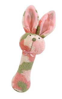 Stephan Baby Plush Fleece Bunnie Post Rattle, Pink Camo