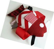 Plush Red Fish with Sensory Tags & Ribbons, FREE Shipping