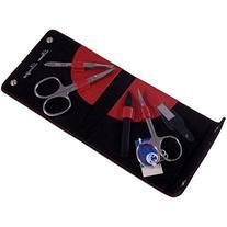 Dovo 5 Piece Pocket Manicure Set Calf Leather - Red
