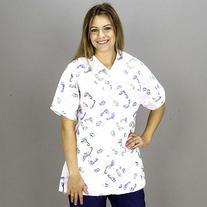 Medline Scrubs Ladies 2 Pocket Top V-Neck Baby Feet Print -