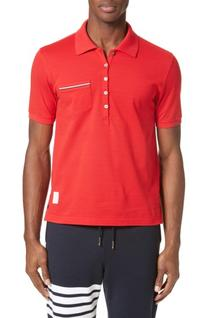 Men's Thom Browne Pocket Polo, Size 2 - Red