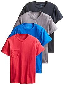 4pk Assorted colors Pocket T-Shirt - 4pack, Black/Grey,
