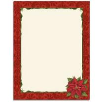 Poinsettia Damask Letterhead - 240 Sheets