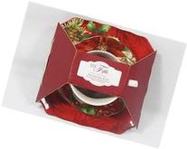 222 Fifth Poinsettia Holly Cup Saucer Plate 3-Piece Luncheon