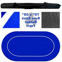 """Brybelly 70"""" x 35"""" Oval Blue Sure Stick Poker Table Layout"""