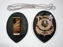 Police Clip on Leather Badge holder and Chain BADGE NOT