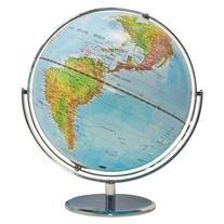 "Political/Physical World Globe, 12"""" dia, Silver Metal Base"