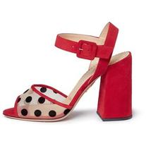 Charlotte Olympia 'Emma' polka dot mesh suede sandals