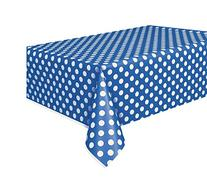 "Polka Dot Plastic Tablecloth, 108"" x 54"", Royal Blue"