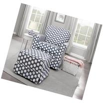Storkcraft Polka Dot Upholstered Swivel Glider, Gray/White