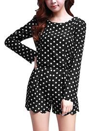 Allegra K Women Polka Dots Zip-Up Romper Long Sleeve Short
