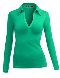 Thanth Womens Polo Collar Deep V-Neck Pullover Casual Blouse