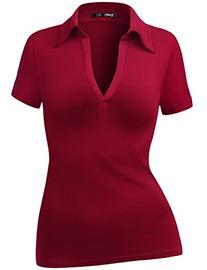 TWINTH Womens Polo Collar Deep V-Neck Pullover Casual Blouse