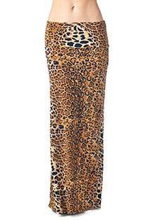 82 Days Women'S Poly Span Animal Print Maxi Skirt - A09