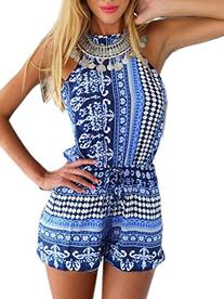 Choies Women's Polyester Blue Cut out back Bohemian Casual