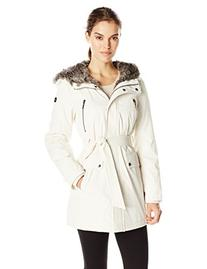 Kensie Women's Polyester Fill Belted Parka, Winter White,