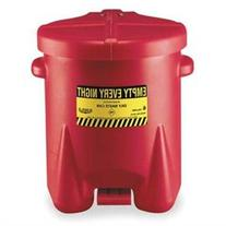 Polyethylene Oily Waste Cans - 6-gal. red poly oily waste