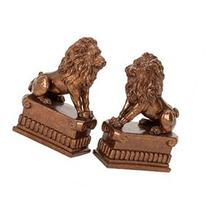 Benzara Polystone Lion Bookend Pair Unique Table and Shelf