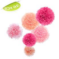 Aspire Pom Poms, Pink Tissue Paper Flower, Party Favors