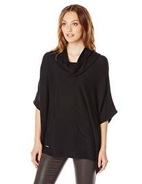 Women's Poncho with Pocket, Black, Small/Medium