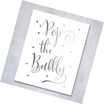 Pop the Bubbly Silver Foil Print Bar Cart Sign Wedding