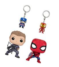 Funko POP Marvel: Civil War Hawkeye Spiderman, Iron Man &