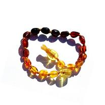 "Hazelaid  5.5"" Pop-Clasp Baltic Amber Rainbow Bean Bracelet"
