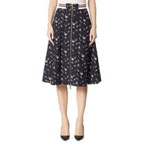 Thom Browne Poppy-Print Wool Zip-Front Skirt