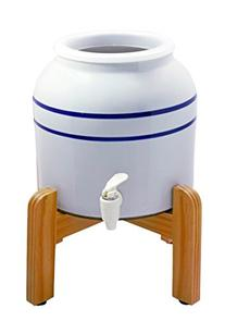 New Wave Enviro Porcelain Dispenser with Wood Counter Stand