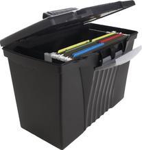 Storex Portable File Box with Organizer Lid, 17.13 x 9.63 x