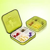 Sannysis Portable Mini 4 Slots Drug Medicine Pill Box Case